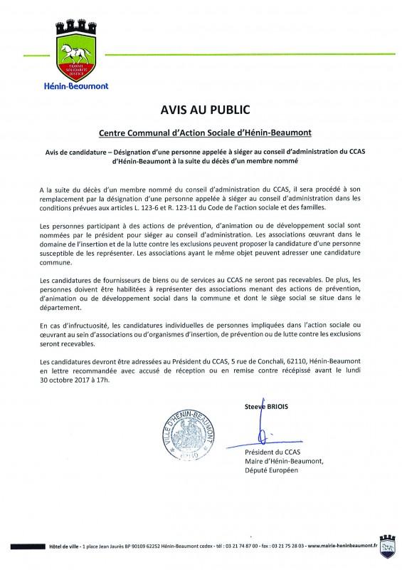 AVIS AU PUBLIC - CCAS - désignation nouveau membre