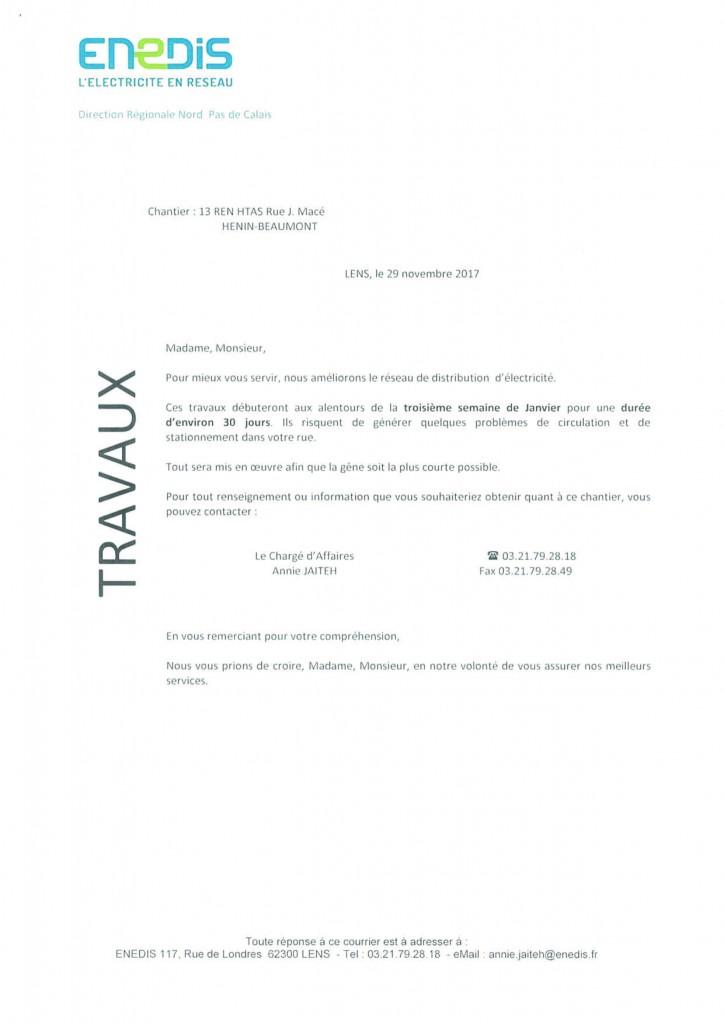 courrier riverain Travaux ENEDIS rue Jean Macé 005494